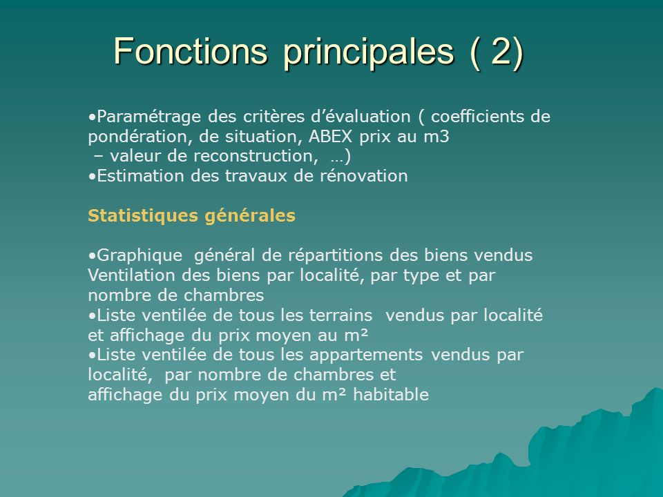 Fonctions principales ( 2)