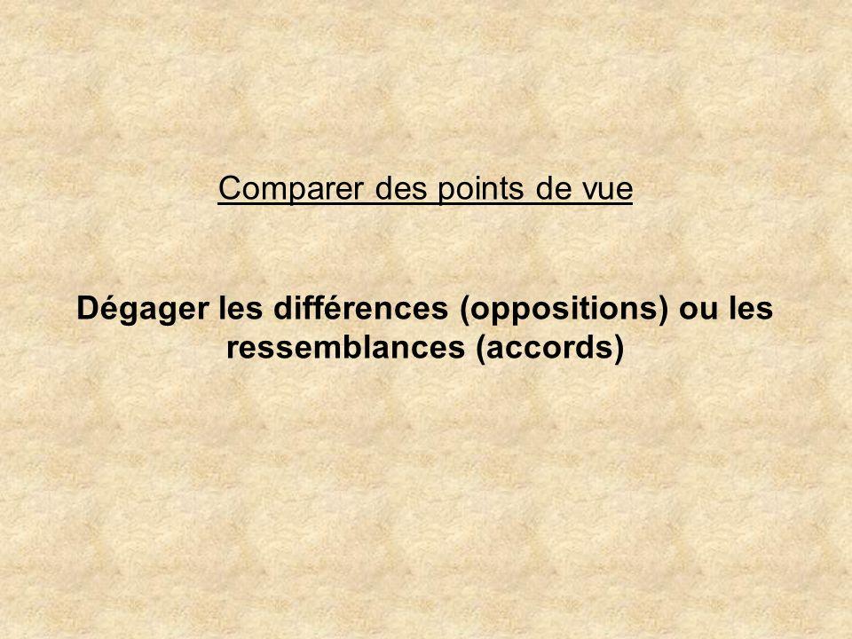 Dégager les différences (oppositions) ou les ressemblances (accords)