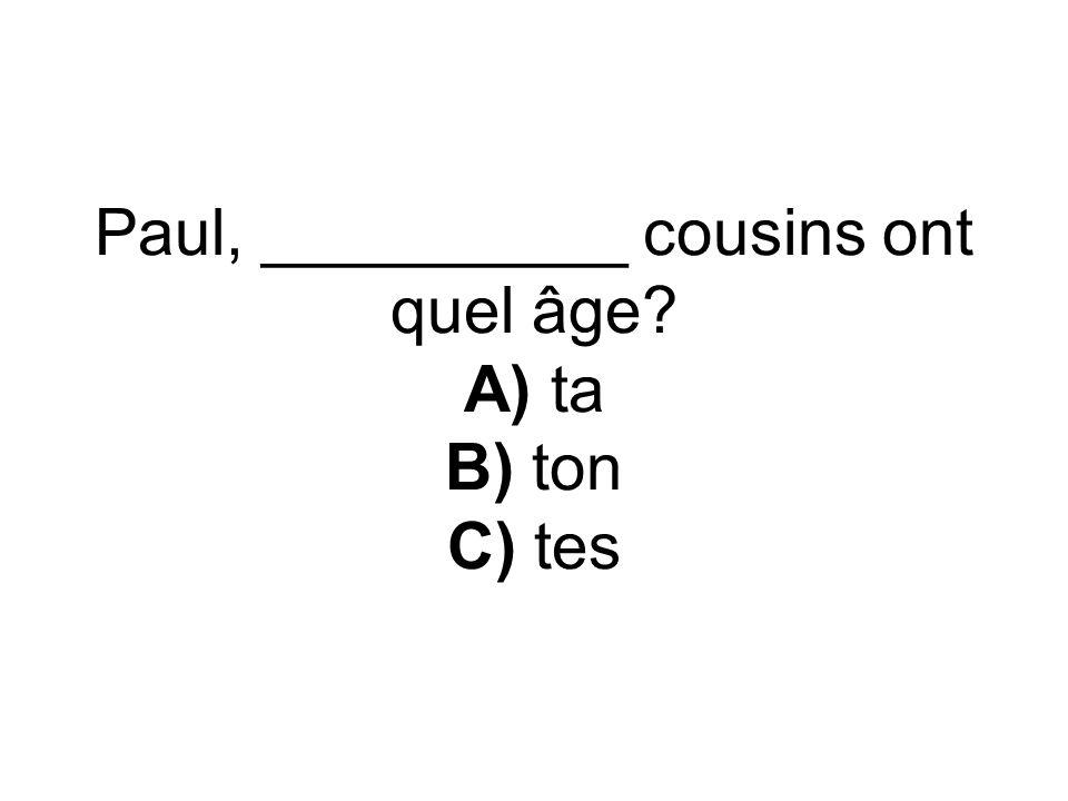 Paul, __________ cousins ont quel âge A) ta B) ton C) tes