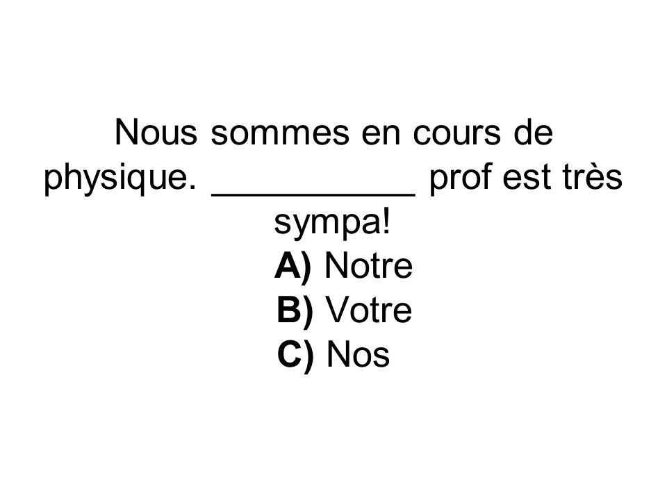Nous sommes en cours de physique. __________ prof est très sympa