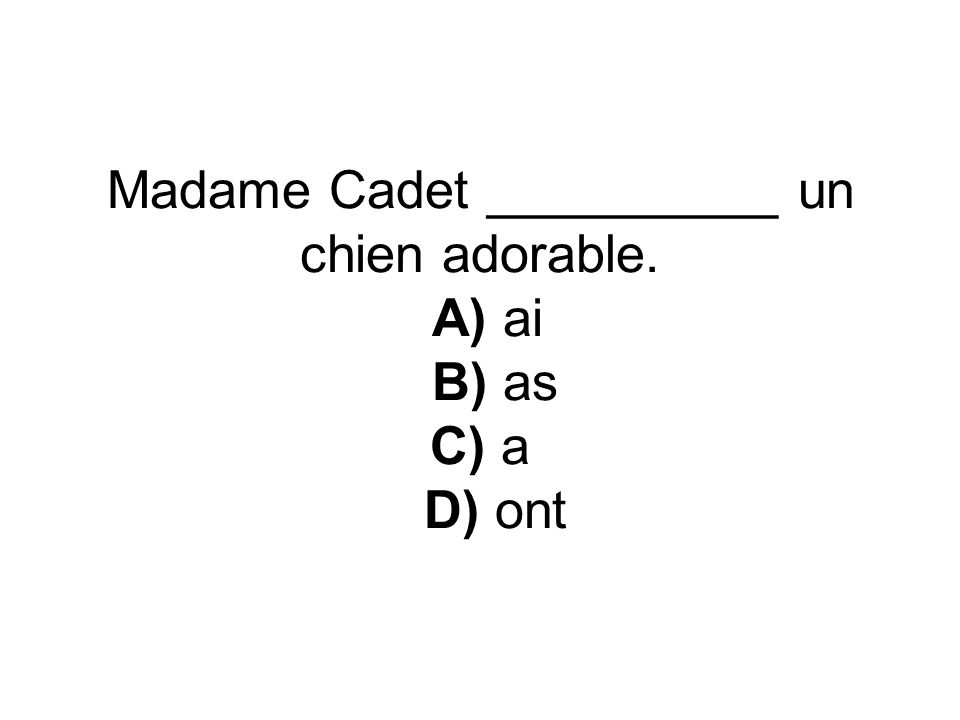 Madame Cadet __________ un chien adorable. A) ai B) as C) a D) ont