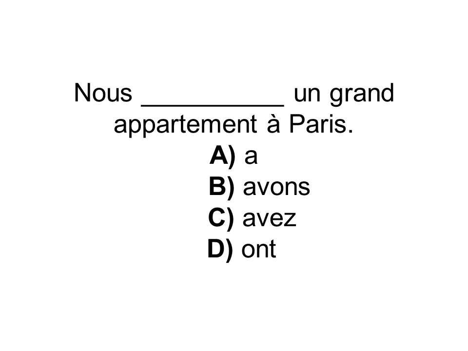 Nous __________ un grand appartement à Paris