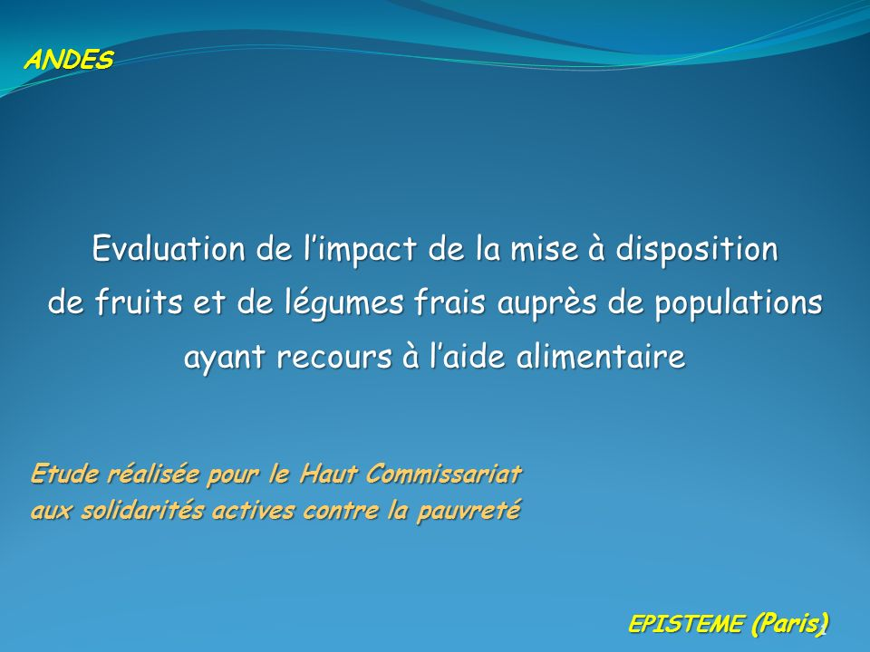 Evaluation de l'impact de la mise à disposition