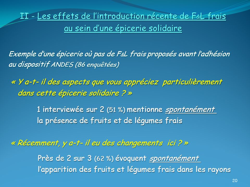 II - Les effets de l'introduction récente de F&L frais