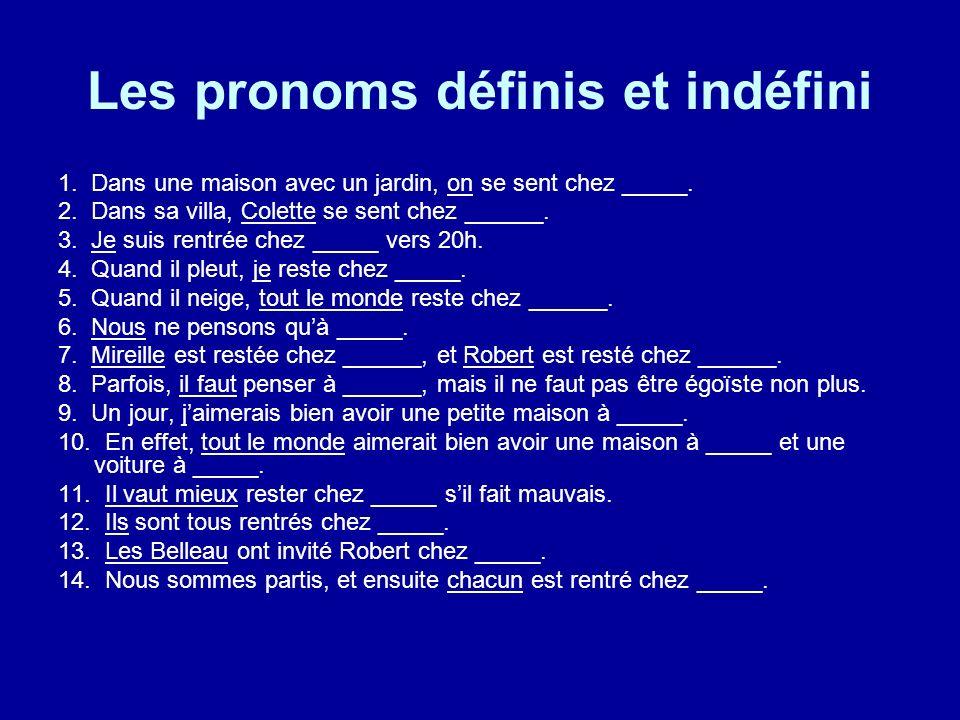 Les pronoms définis et indéfini