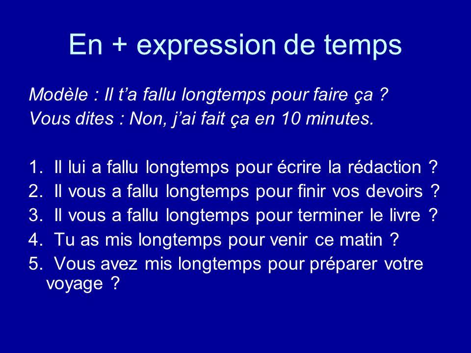 En + expression de temps