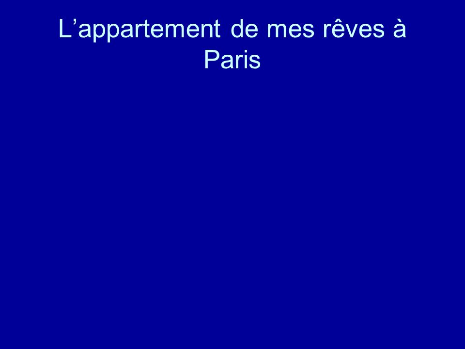 L'appartement de mes rêves à Paris