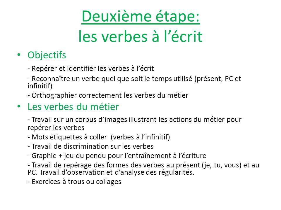 Deuxième étape: les verbes à l'écrit