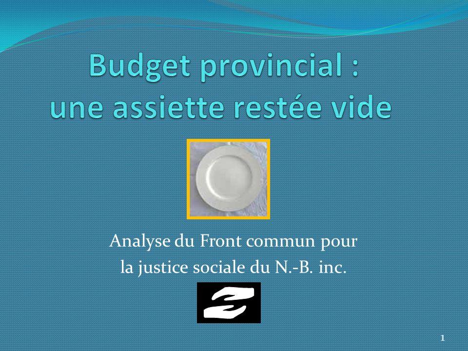 Budget provincial : une assiette restée vide