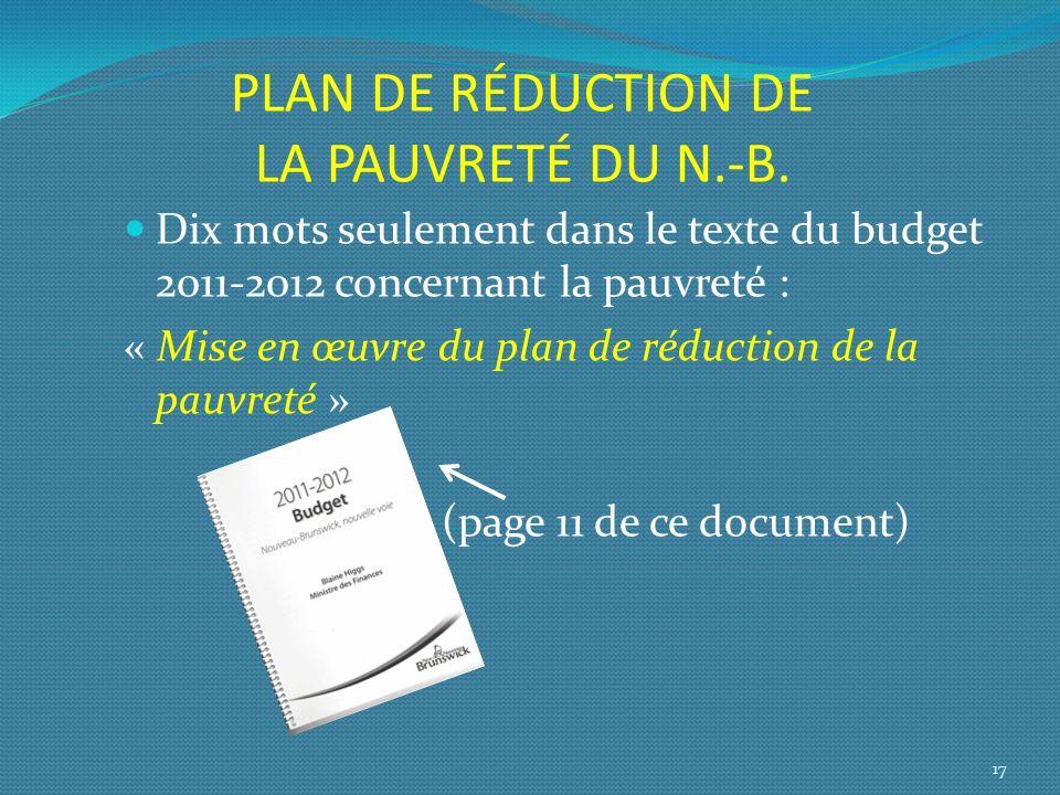 PLAN DE RÉDUCTION DE LA PAUVRETÉ DU N.-B.