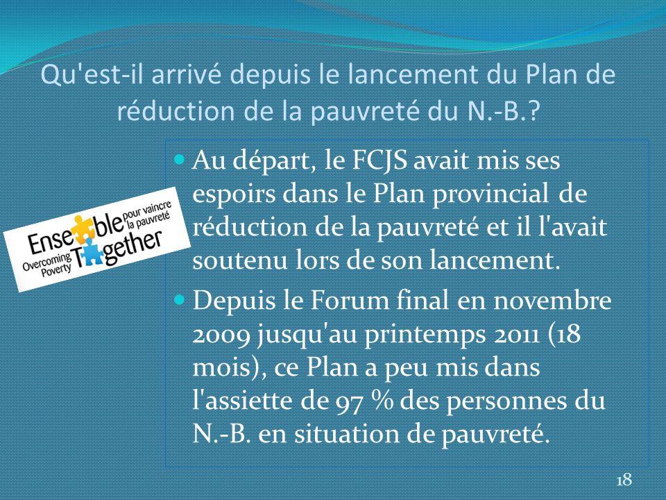 Qu est-il arrivé depuis le lancement du Plan de réduction de la pauvreté du N.-B.