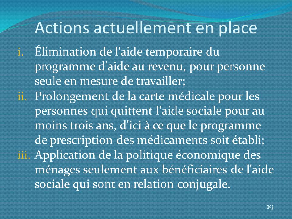 Actions actuellement en place