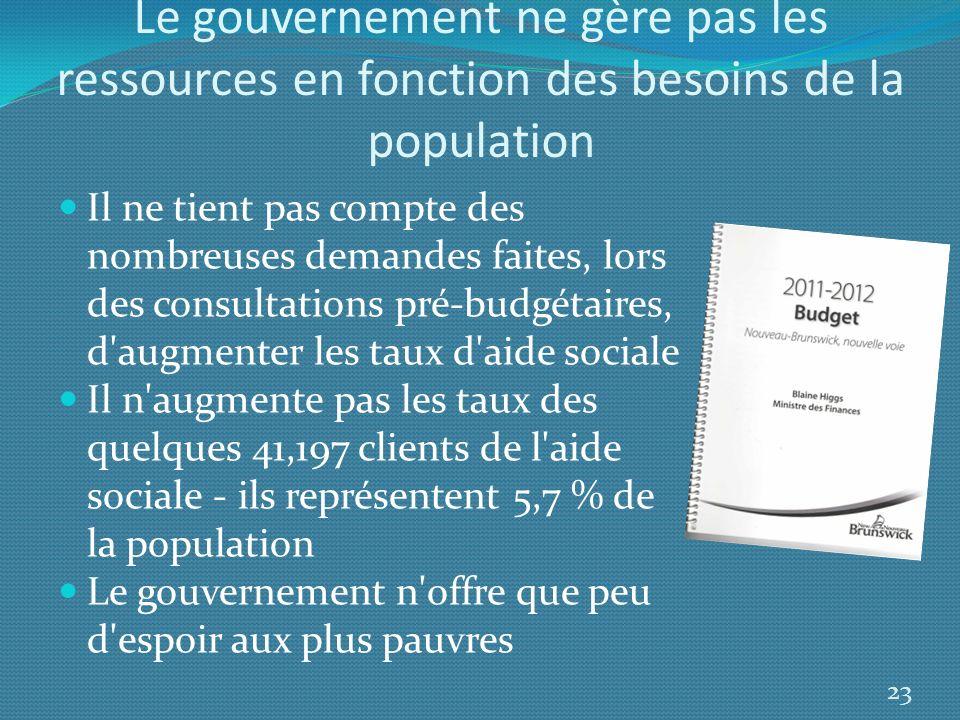 Le gouvernement ne gère pas les ressources en fonction des besoins de la population