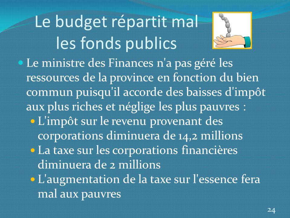 Le budget répartit mal les fonds publics
