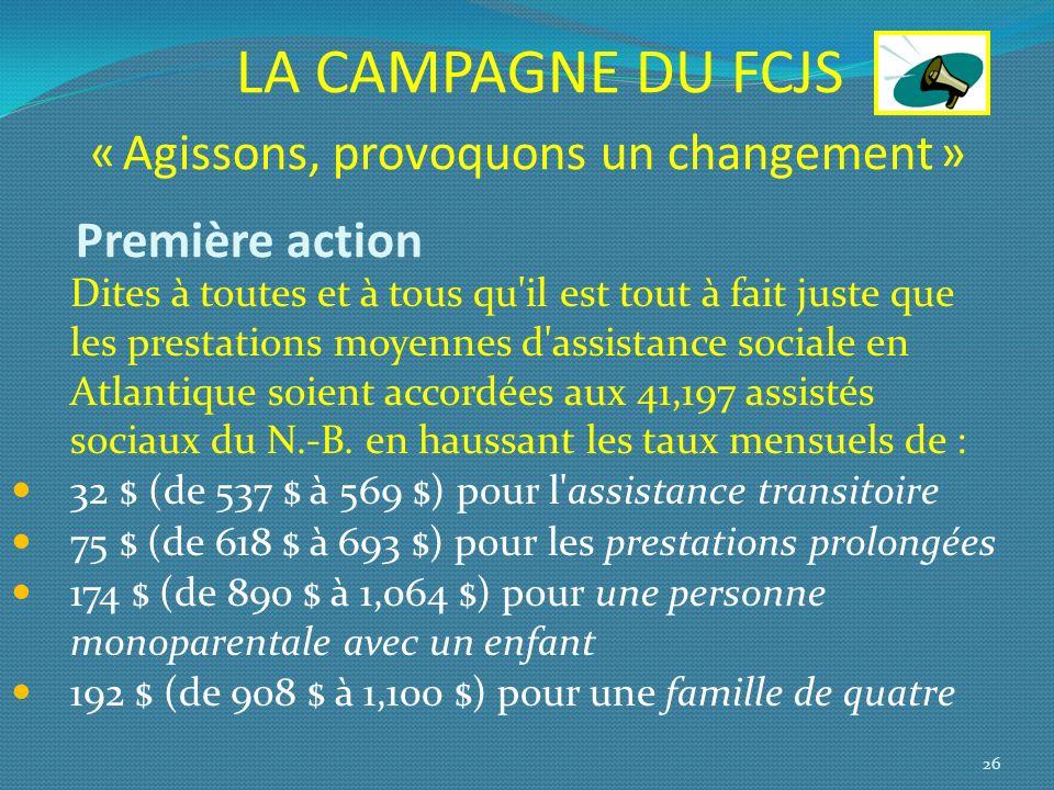 LA CAMPAGNE DU FCJS « Agissons, provoquons un changement » Première action