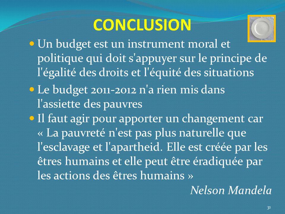 CONCLUSION Un budget est un instrument moral et politique qui doit s appuyer sur le principe de l égalité des droits et l équité des situations.