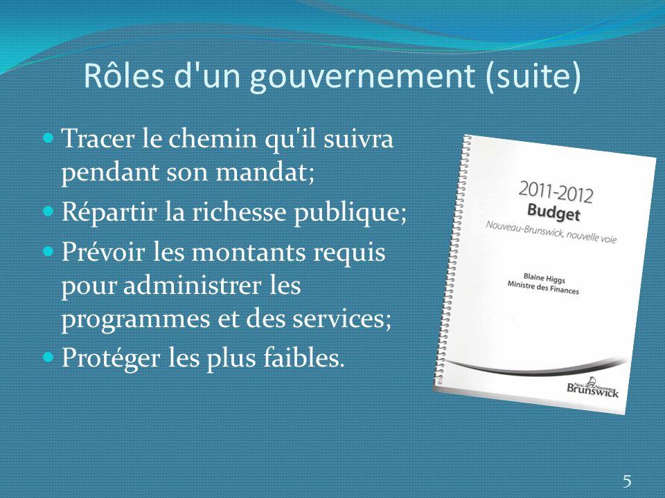 Rôles d un gouvernement (suite)