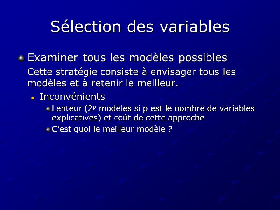 Sélection des variables