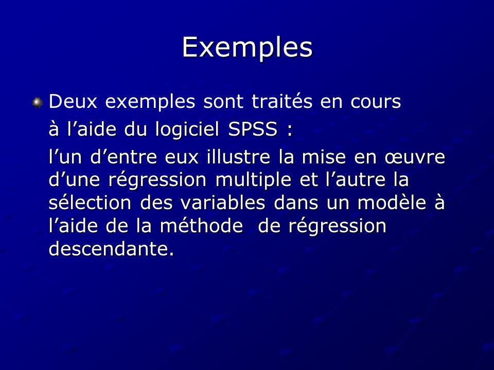 Exemples Deux exemples sont traités en cours