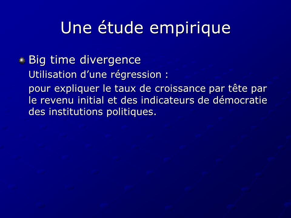 Une étude empirique Big time divergence Utilisation d'une régression :