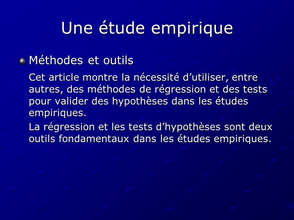 Une étude empirique Méthodes et outils