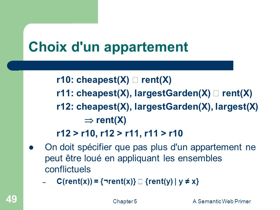 Choix d un appartement r10: cheapest(X)  rent(X)