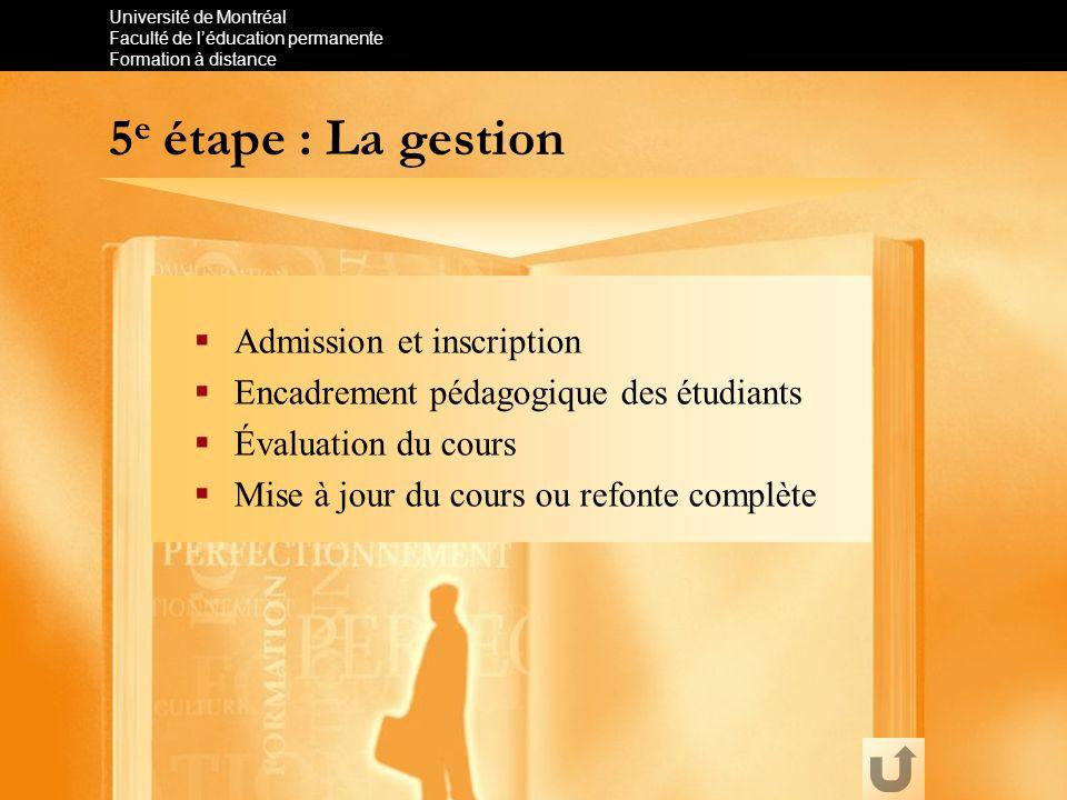 5e étape : La gestion Admission et inscription