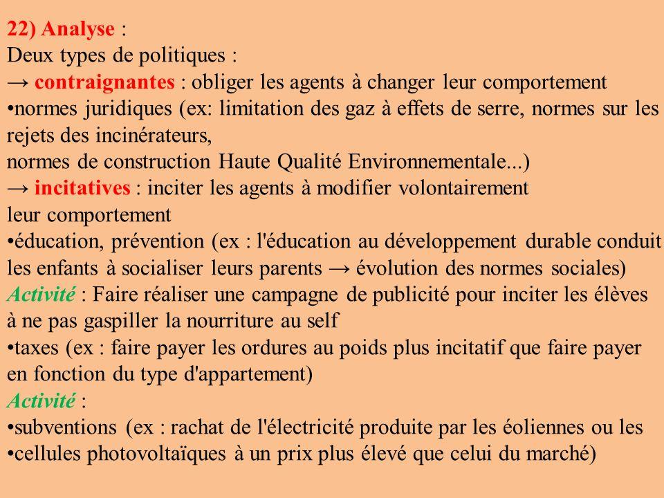 22) Analyse : Deux types de politiques : → contraignantes : obliger les agents à changer leur comportement.