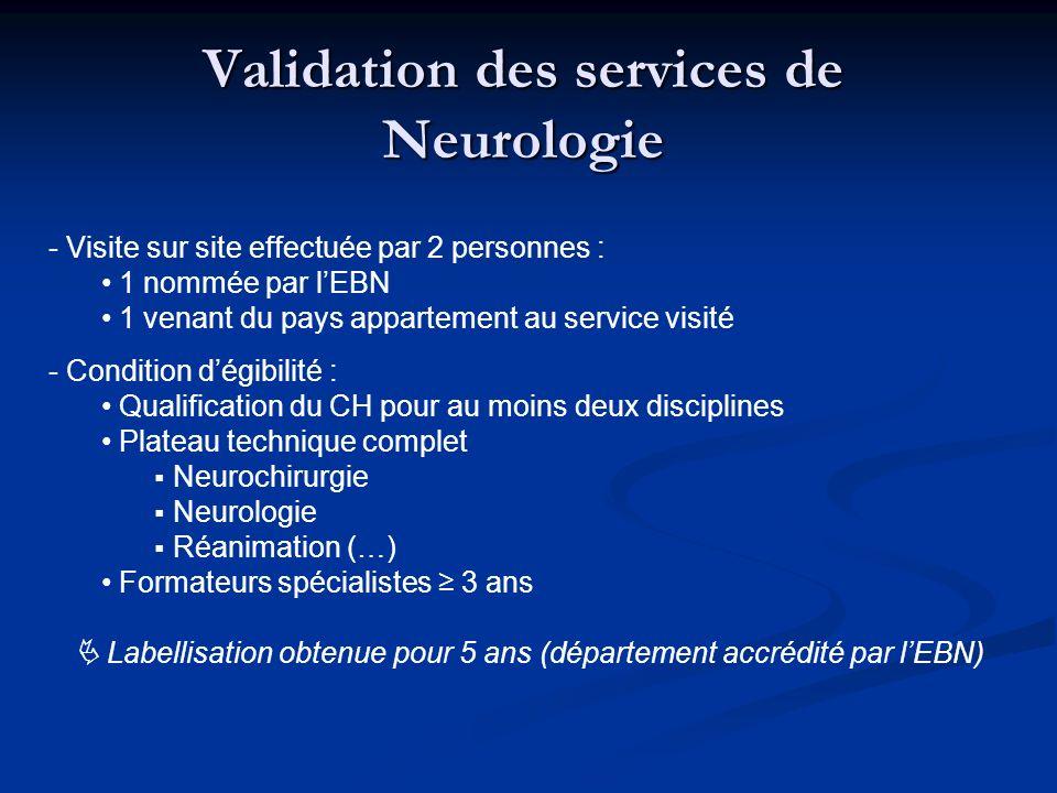 Validation des services de Neurologie