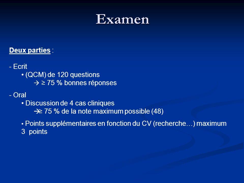 Examen Deux parties : Ecrit (QCM) de 120 questions