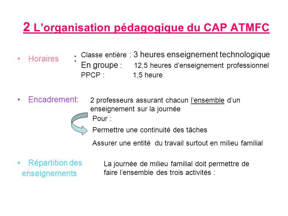 2 L'organisation pédagogique du CAP ATMFC