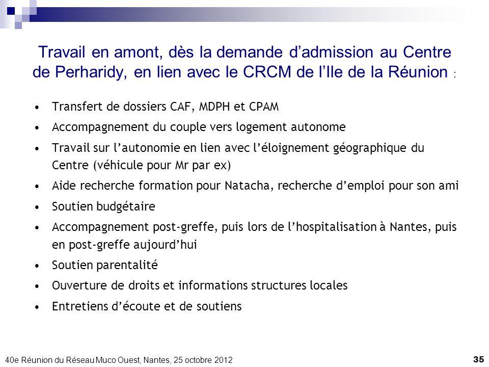 Travail en amont, dès la demande d'admission au Centre de Perharidy, en lien avec le CRCM de l'Ile de la Réunion :