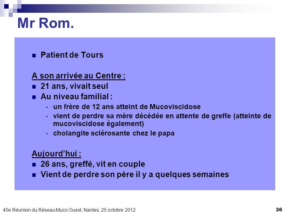 Mr Rom. Patient de Tours A son arrivée au Centre : 21 ans, vivait seul