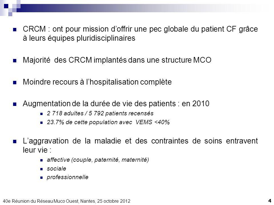 Majorité des CRCM implantés dans une structure MCO