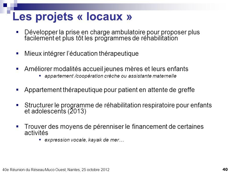 Les projets « locaux » Développer la prise en charge ambulatoire pour proposer plus facilement et plus tôt les programmes de réhabilitation.