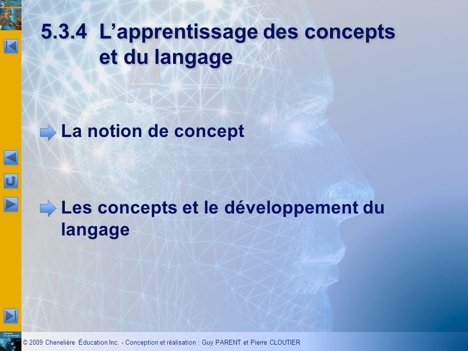 5.3.4 L'apprentissage des concepts et du langage