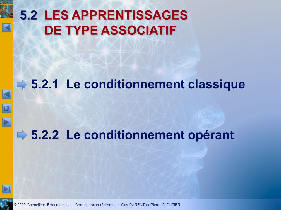 5.2 LES APPRENTISSAGES DE TYPE ASSOCIATIF