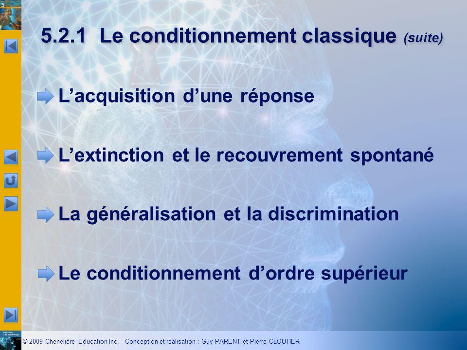5.2.1 Le conditionnement classique (suite)