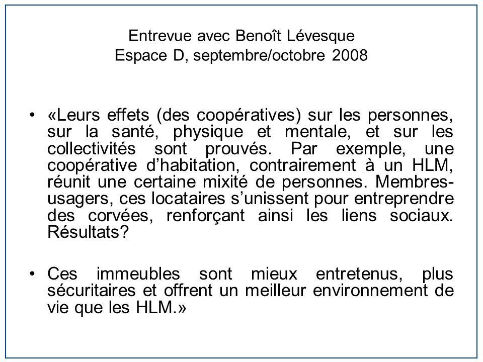 Entrevue avec Benoît Lévesque Espace D, septembre/octobre 2008