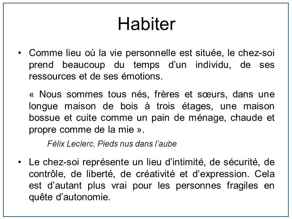 Habiter Comme lieu où la vie personnelle est située, le chez-soi prend beaucoup du temps d'un individu, de ses ressources et de ses émotions.