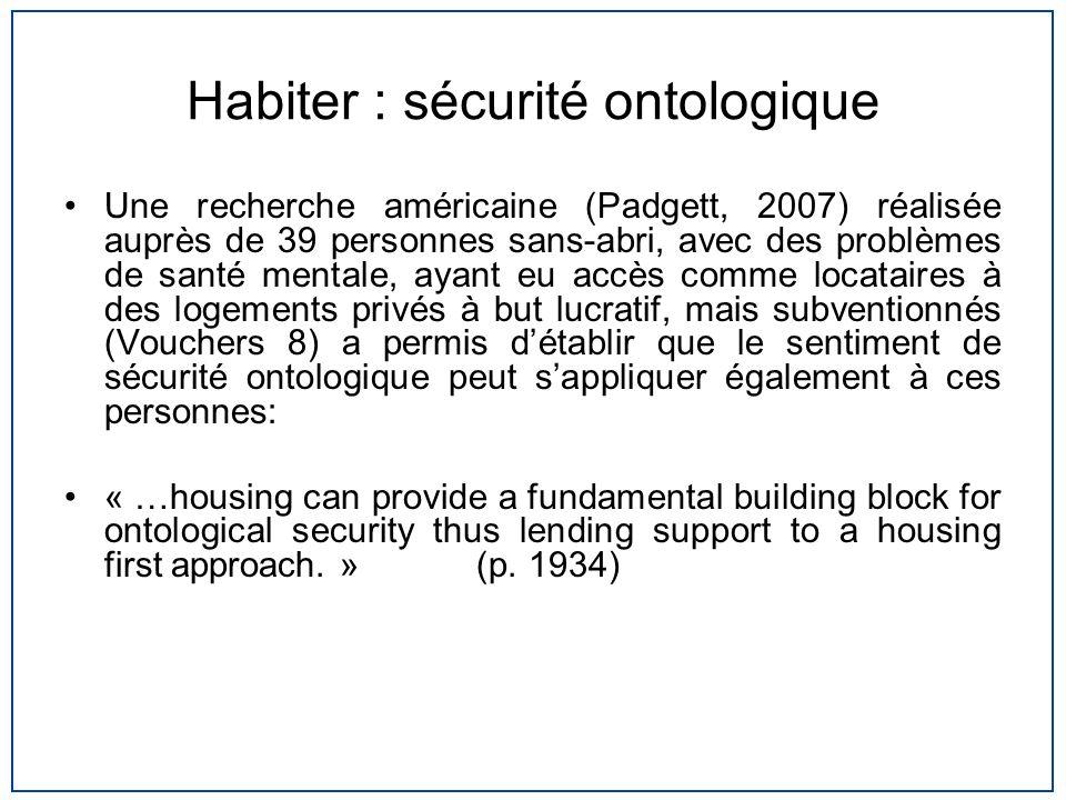 Habiter : sécurité ontologique