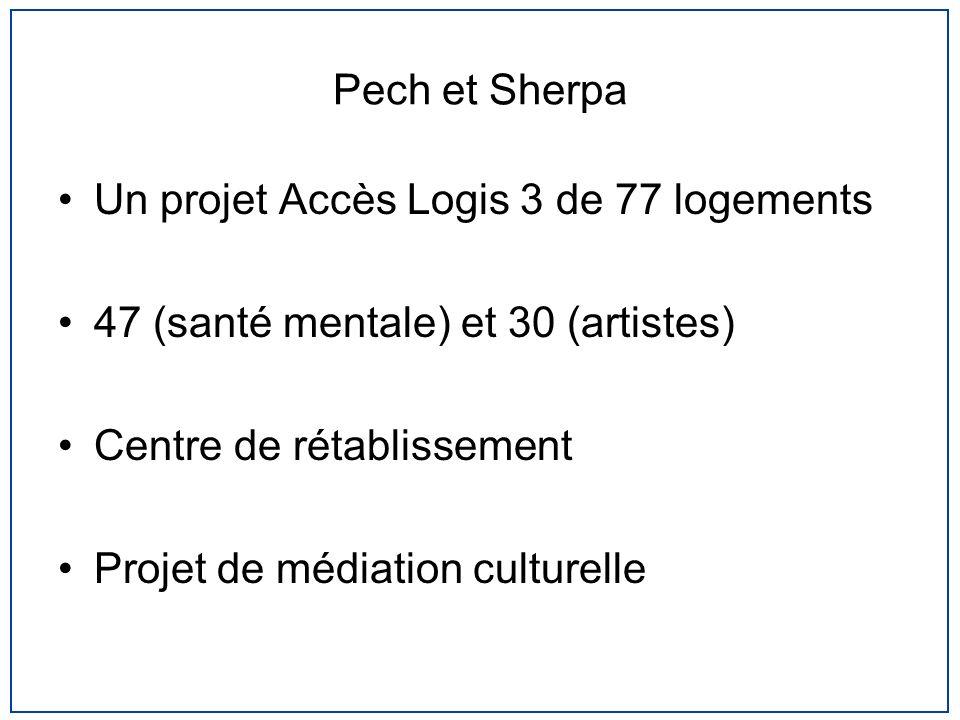 Pech et Sherpa Un projet Accès Logis 3 de 77 logements. 47 (santé mentale) et 30 (artistes) Centre de rétablissement.