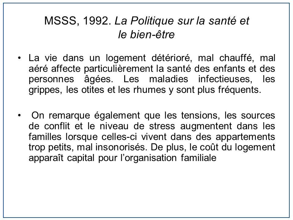 MSSS, 1992. La Politique sur la santé et le bien-être
