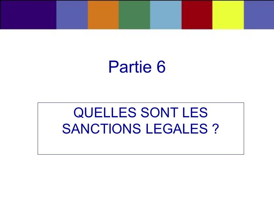 QUELLES SONT LES SANCTIONS LEGALES