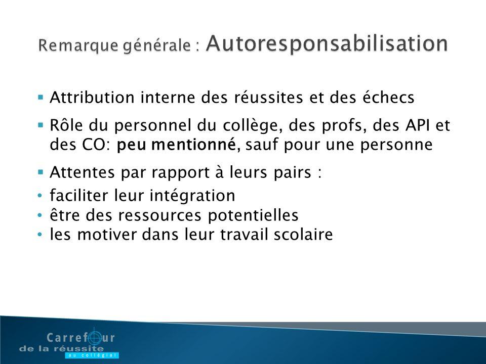 Remarque générale : Autoresponsabilisation