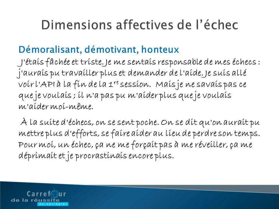 Dimensions affectives de l'échec