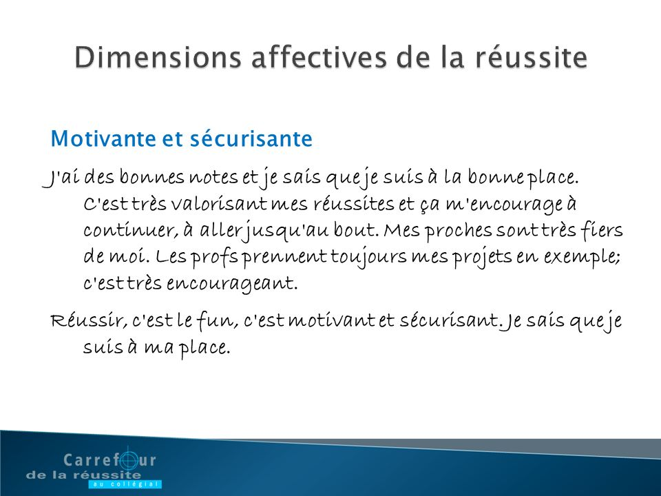 Dimensions affectives de la réussite