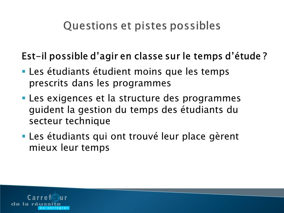 Questions et pistes possibles