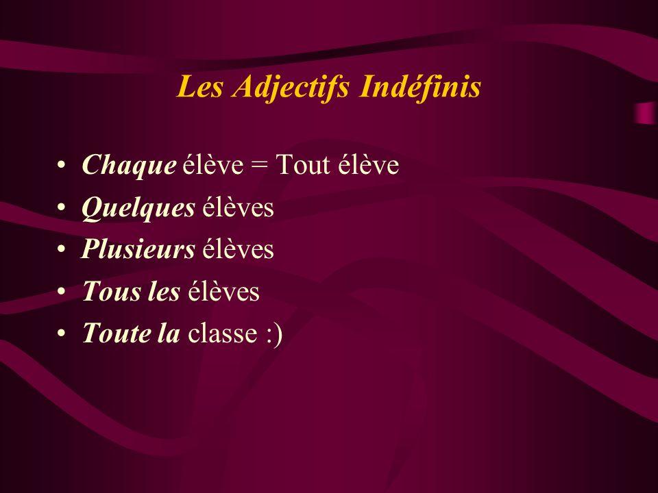 Les Adjectifs Indéfinis