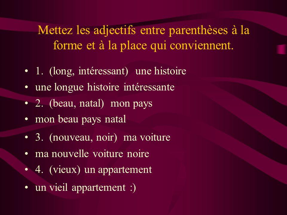 Mettez les adjectifs entre parenthèses à la forme et à la place qui conviennent.